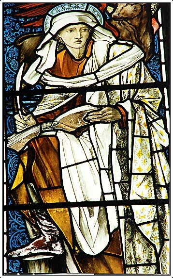 <font><b>Stained glass</b>window depicting St Luke by Burne-Jones. This is Stained Glass Photography's signature image.</font>